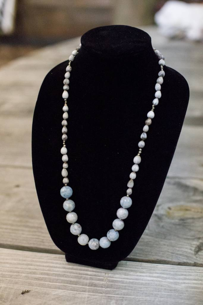 Light Blue Jade seed necklace