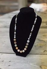 Neutral multi-colored Quartz Stone seed necklace