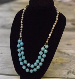 Blue Angeline 2 strand seed necklace