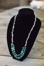 Green Jade 2 strand seed necklace