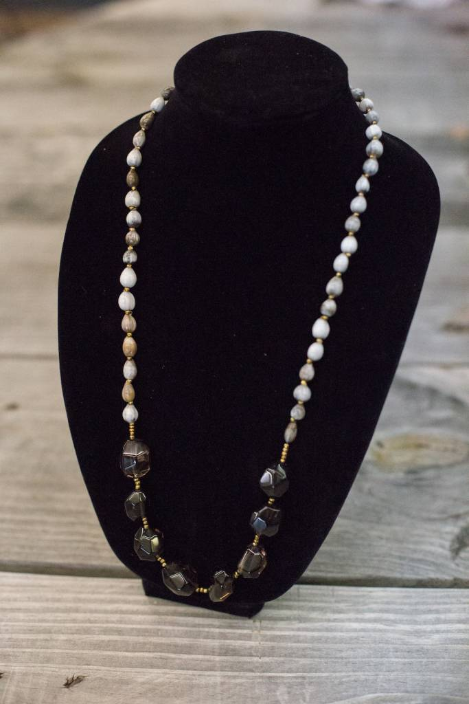 Smoky Quartz seed necklace