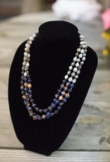 Blue Natural Lapis 10mm bead multi-strand seed necklace