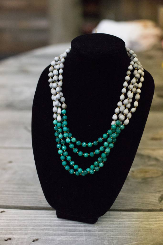 Bright Green Jade 8mm bead multi-strand seed necklace