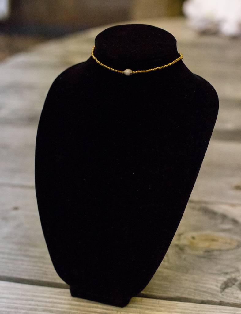 Gold Choker bead necklace