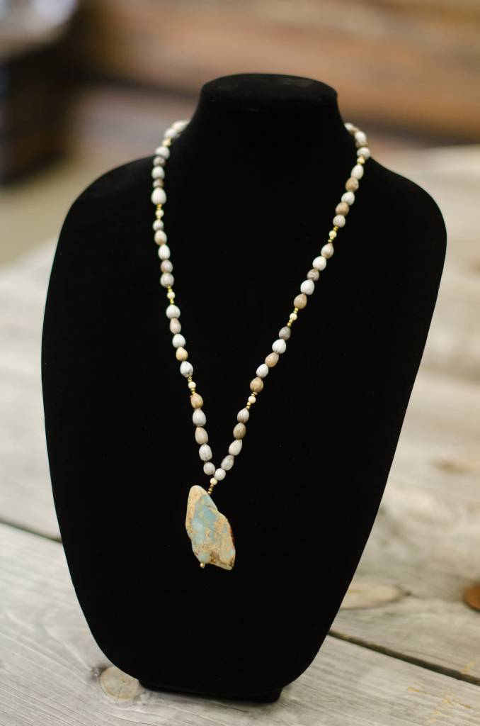 World Opal Stone Pendant seed necklace