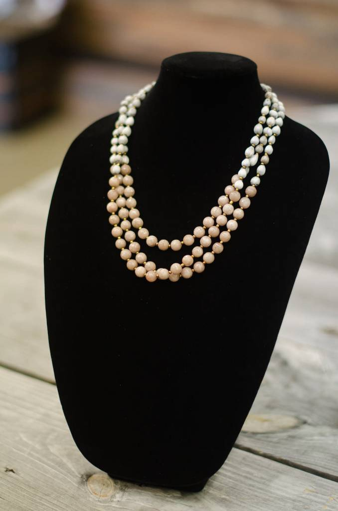 Taupe Jade 10mm bead three-strand seed necklace