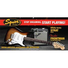 Squier Affinity Series Strat w/ Fender Frontman 10G Amp, Brown Sunburst