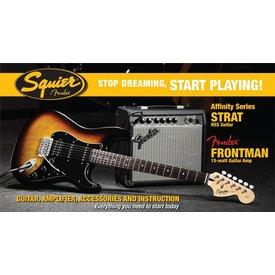 Squier Affinity Series Strat HSS w/ Fender Frontman 15G Amp, Brown Sunburst