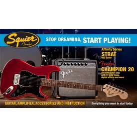 Squier Affinity Series Strat HSS w/ Fender Champion 20 Amp, Candy Apple Red
