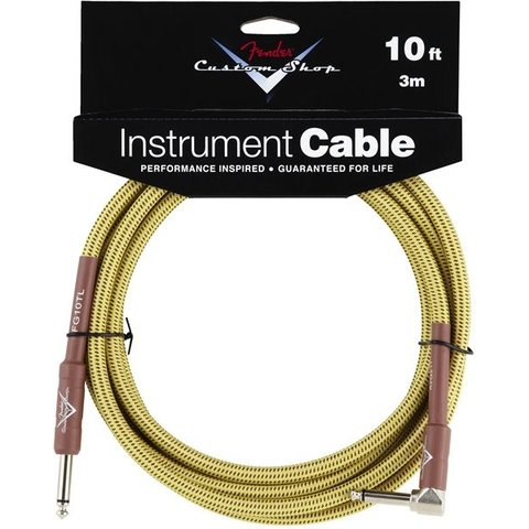 Fender Custom Shop Performance Series Cable, 10', Tweed, Angled