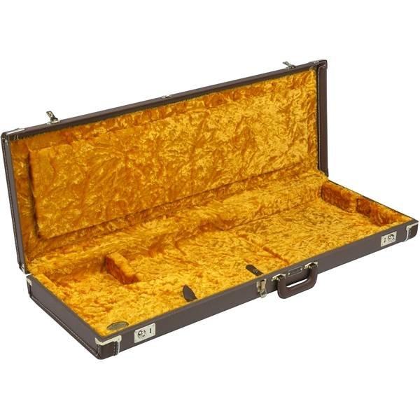 Fender G&G Deluxe Strat/Tele Hardshell Case, Brown with Gold Plush Interior - Used