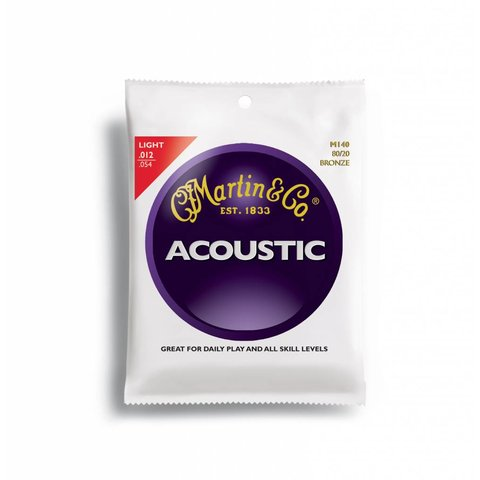 Martin, Light, M140 Bronze 80/20 Acoustic Guitar Strings, 12-54
