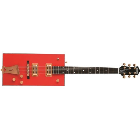 """Gretsch G6138 Bo Diddley, """"G"""" Cutout Tailpiece, Ebony Fingerbrd, Firebird Red"""