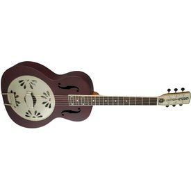 Gretsch Guitars Gretsch G9202 Honey Dipper Round-Neck, Brass Body Biscuit Cone Resonator Guitar, Oxblood
