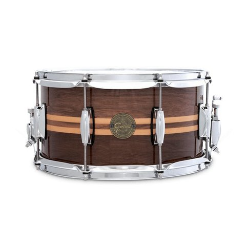 "Gretsch 6.5"" X 14"" Walnut w/ Maple Inlay Snare Drum"