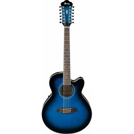 Ibanez Ibanez AEL1512ETBS AEL Acoustic Electric Guitar Transparent Blue Sunburst
