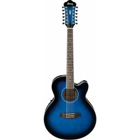 Ibanez AEL1512ETBS AEL Acoustic Electric Guitar Transparent Blue Sunburst