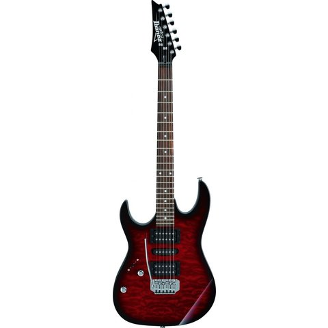 Ibanez GRX70QATRB Gio Tremolo Left-Handed Electric Guitar Transparent Red Burst