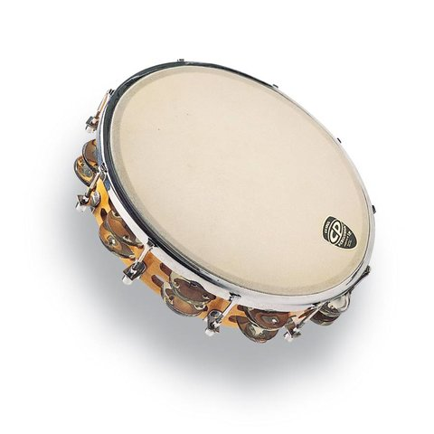 "CP 10"" Tambourine Tunable Wood Double Row"