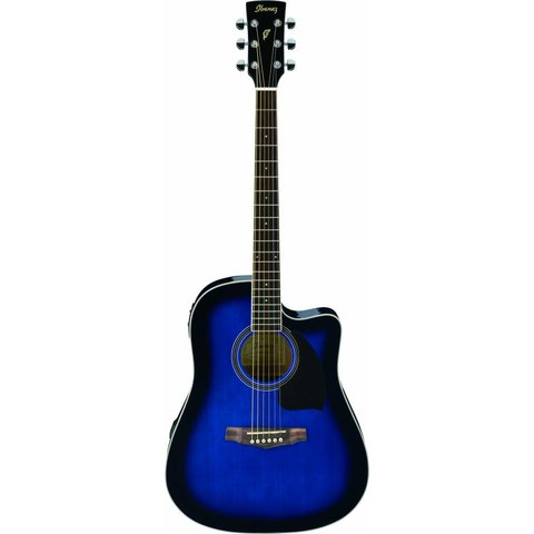 Ibanez PF15ECETBS Performance Acoustic Electric Guitar Transparent Blue Sunburst