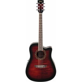 Ibanez Ibanez PF28ECETRS Performance Acoustic Electric Guitar Transparent Red Sunburst