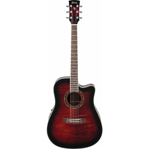 Ibanez PF28ECETRS Performance Acoustic Electric Guitar Transparent Red Sunburst