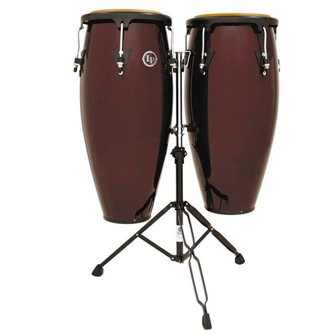 LP Aspire 11'' & 12'' Wood Conga Set w/ Double Stand Dark Wood