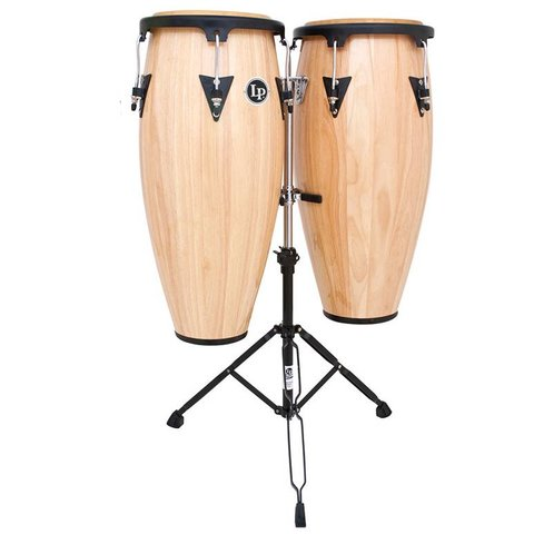 "LP Aspire 10"" & 11"" Wood Conga Set w/ Double Stand Natural"