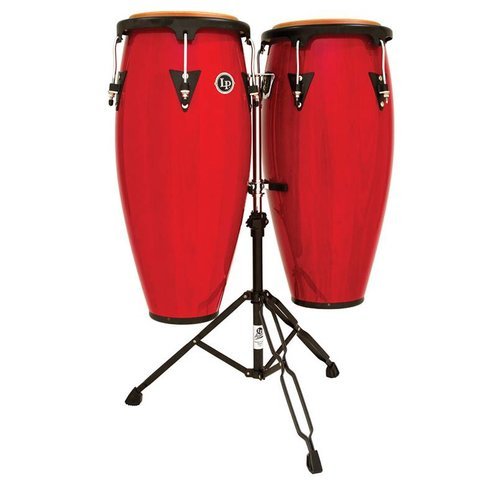 "LP Aspire 10"" & 11"" Wood Conga Set w/ Double Stand Red Wood"