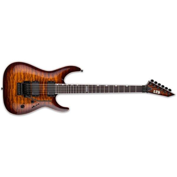LTD ESP LTD MH-401FR Electric Guitar w/ Floyd Rose Quilted Maple Dark Brown Sunburst