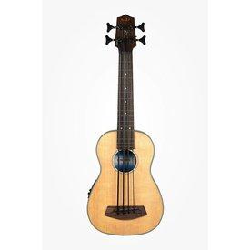 Kala Kala Solid Top Acoustic/Electric UBASS-SSMHG-FL U-Bass Fretless W/Bag , Satin/Solid Spruce Top/Mahogany