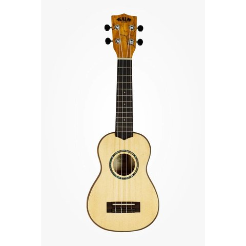 Kala Solid Spruce Top KA-FMSG Soprano Ukulele, Gloss/Solid Spruce/Flame Maple