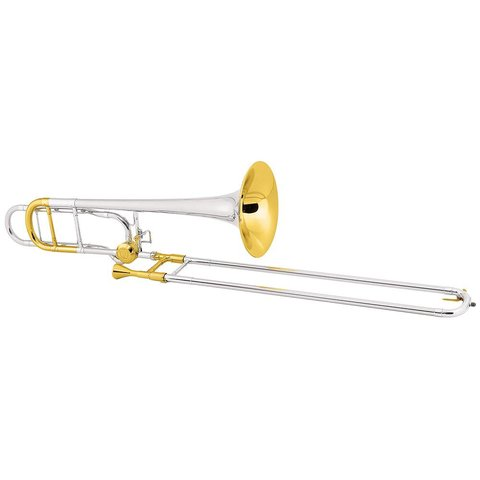 Conn 88HSGXCL Symphony Series Professional Tenor Trombone, CL2000 Rotor System, Silver Plated, Gold Trim, Sterling Silver Bell