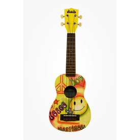 Makala Makala Ukadelic MK-SPEACELOVE Soprano Ukulele, Original Art Yellow Peace & Love