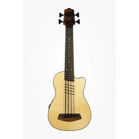 Kala Kala Solid Top Acoustic/Electric UBASS-SSMHG-C-HH-FS U-Bass Cutaway Fretted w/ Bag, Satin/Solid Spruce Top/Mahogany