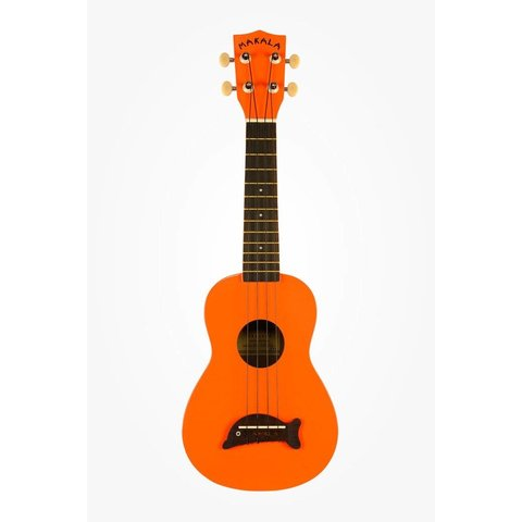 Makala Dolphin MK-SD/SOLID Dolphin Bridge Soprano Ukulele, Gloss - Orange