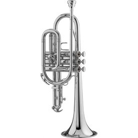 King King 603WSP Student Cornet w/ Wood Shell Case, Silver Plated