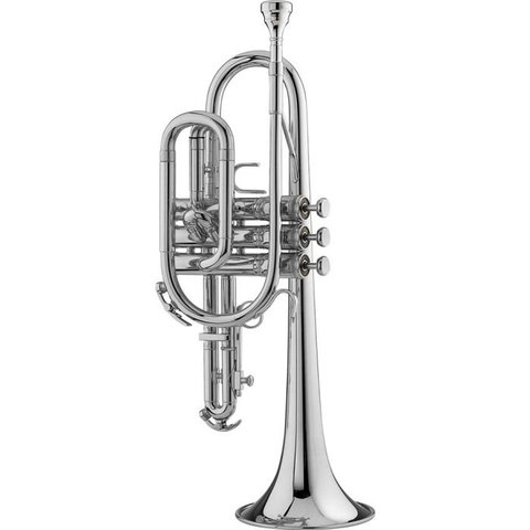 King 603WSP Student Cornet w/ Wood Shell Case, Silver Plated