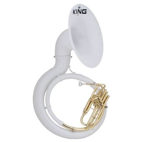 King 2370W Fiberglass BBb Sousaphone, White w/ Case
