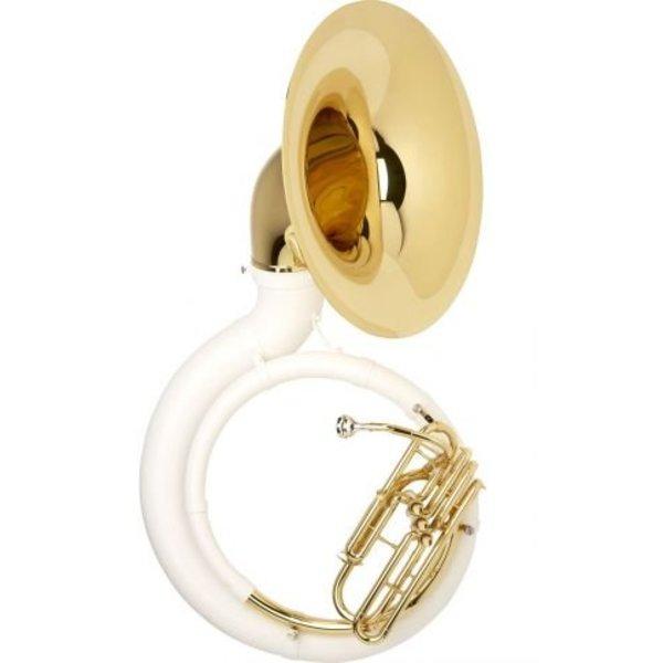 King King 2360W Fiberglass BBb Sousaphone, White w/ Case