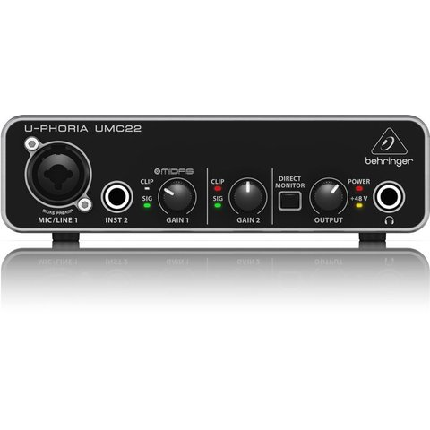 Behringer UMC22 2x2 USB 2 Interface 28K Midas