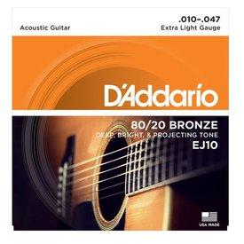 D'Addario D'Addario EJ10 Bronze Acoustic Guitar Strings, Extra Light, 10-47