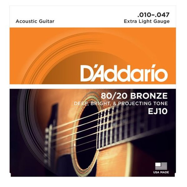 D'Addario D'Addario EJ10 Bronze Acoustic Guitar Strings, Extra Light, 10-47