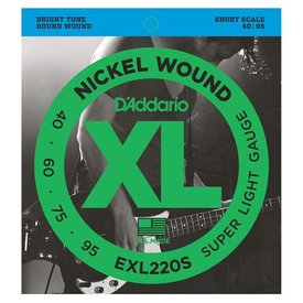 D'Addario D'Addario EXL220S Nickel Wound Bass Strings, Super Light, 40-95, Short Scale