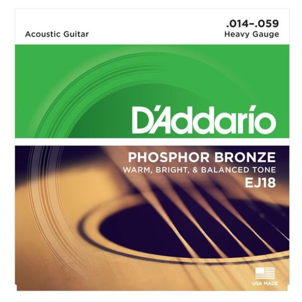 D'Addario D'Addario EJ18 Phosphor Bronze Acoustic Guitar Strings, Heavy, 14-59