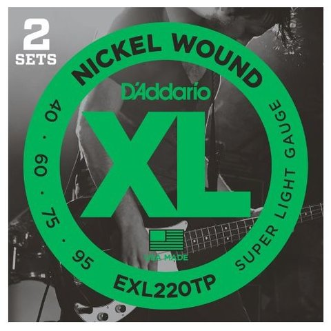 D'Addario EXL220TP Nickel Wound Bass Super Light 40-95, 2 Sets, Long Scale