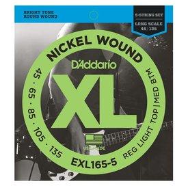 D'Addario D'Addario EXL165 5-String Nickel Wound Bass Custom Light 45-135 Long Scale