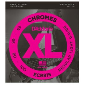 D'Addario D'Addario ECB81S Chromes Bass Guitar Strings, Light, 45-100, Short Scale