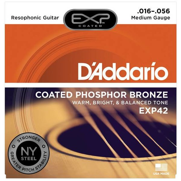 D'Addario D'Addario EXP42 Coated Resophonic Guitar Strings, 16-56