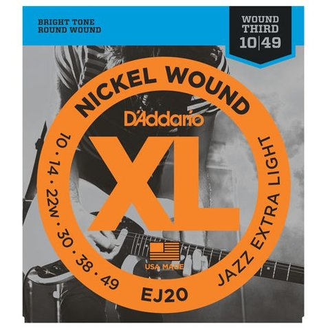 D'Addario EJ20 Nickel Wound Electric Guitar Strings, Jazz Extra Light, 10-49